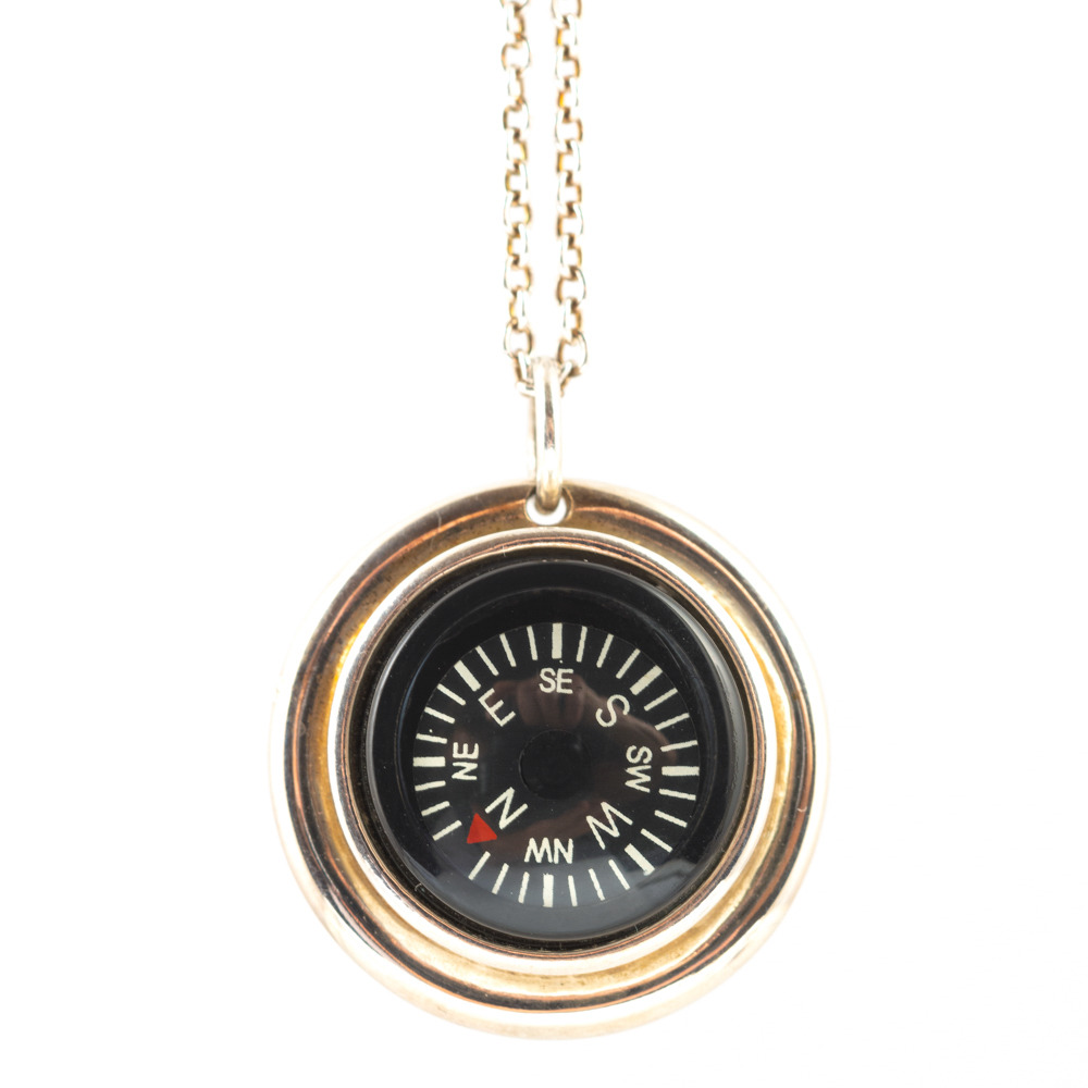 "Large Compass Necklace on 30"" Chain"