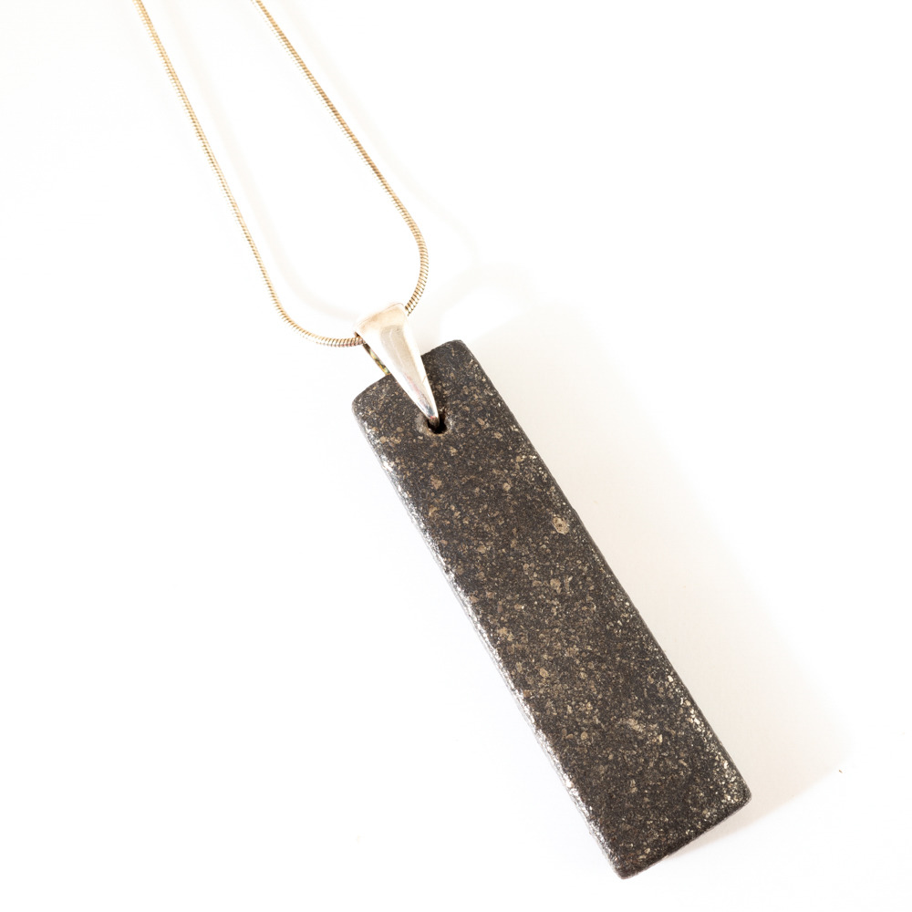 Black Mica Strata Pendant Necklace