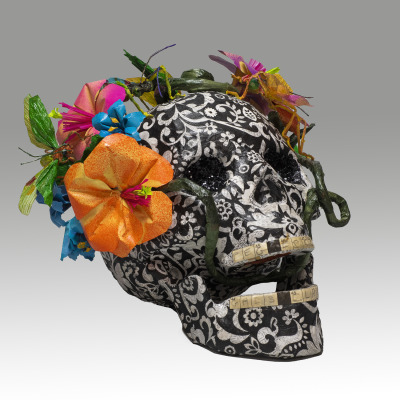 Day of the Dead Skull with movable Mandible, flowers, insects